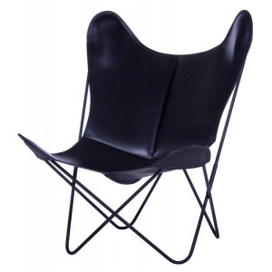 FAUTEUIL AA BUTTERFLY - CUIR / STRUCTURE NOIRE